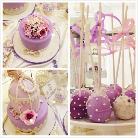 椰子树图案裱花蛋糕